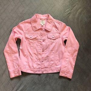 Girls Long Sleeve Lace Shoulder Pink Demin Jacket